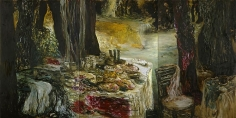 Ziad Dalloul, Celebrations of the Absent, 2010, Oil on canvas, Triptych, 195 x 390 cm