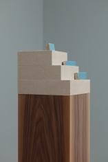 Kamrooz Aram, Composition with Fragments (detail), 2017, Pedestal: walnut, linen on mdf, ceramic tiles