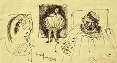 Seif Wanly, Untitled, 1954, Ink on paper, 15 x 27.5 cm