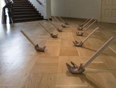 Hera Büyüktaşçıyan, If the Wind Will Not Serve, Take the Oars, 2017, Wood and bronze, Dimensions variable