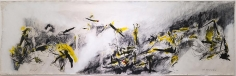 Shawki Youssef, It is a land brimful with the eyelashes of its dead, 2013, Mixed media on canvas, 155 x 495 cm