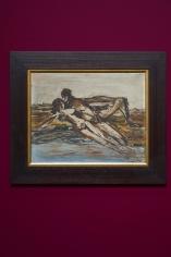 Gazbia Sirry, Untitled (figures), Oil on board, 39.8 x 50 cm