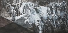 Ahmad Moualla, Untitled, 2011, Mixed media on canvas, 125 x 250 cm