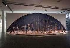 Ana Mazzei, Spectacle (Espetáculo), 2016, Wood, paint, felt, rubber, iron, 4.50 x 14.5 x 4.50 m