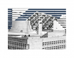 Seher Shah, Capitol Complex, Blue Assembly, 2012, Collage on paper, 28 x 36 cm