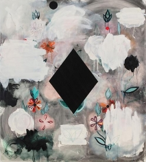 Kamrooz Aram, Year One (Palimpsest #17), 2013, Oil, oil pastel and wax pencil on canvas, 152 x 137 cm