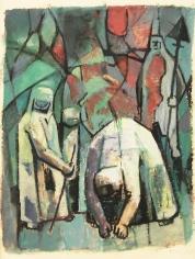 Mahmoud Hammad, The Harvest, 1965, Gouache on paper, 24 x 18 cm