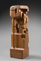 Chaouki Choukini, Pavillon de Lumiere et d'Obscureté, 2014, Iroko, 68 x 20 x 19.5 cm