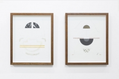 Elena Alonso, Untitled (Order of materials 7), 2017, Mixed media on paper, 38 x 30 cm (left)