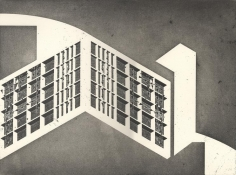Seher Shah,Unit Object (gate), 2014, Etching with aquatint on Arches paper