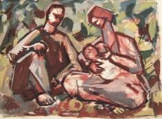 Mahmoud Hammad, The Family, 1965, Gouache on paper, 18 x 24 cm