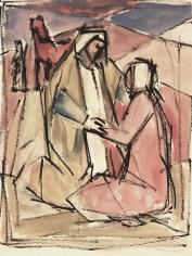 Mahmoud Hammad, Farmers, 1962, Watercolor on paper, 29 x 22 cm