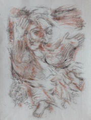 Elias Zayat,Study for Triptych (left canvas), 2014, Charcoal and water color on paper, 65 x 50 cm
