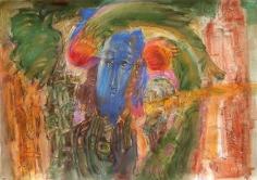 Elias Zayat,The City and the Blue Angel, 2015, Tempura on board, 74 x 105 cm