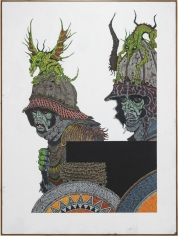 """Zachary Armstrong """"Two Figures on White Ian Miller Keith Rankin"""", 2018 Encaustic and oil on canvas 96 x 72 inches"""