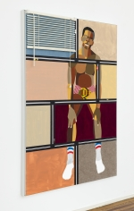 "Derrick Adams ""Figure in the Urban Landscape 12"", 2017 Acrylic, graphite, ink, fabric on paper collage, grip tape, and model cars on wood panel 72-1/2 x 48-1/2 inches"