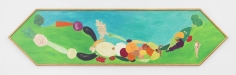 "Luigi Ontani ""Vediove con uva e uova"", 1985 Acrylic on wood panel with artist frame 25 x 98 inches"