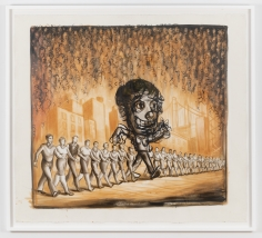 "Nicole Eisenman ""Self Portrait Walking Down Street With an Outrageous Party Atmosphere Descending"", 1997  Ink on gessoed paper  51-1/2 x 57-3/4 inches"