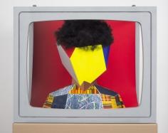 """Derrick Adams """"Boxhead #6"""", 2014 Mixed media 23 x 28 x 19 inches"""