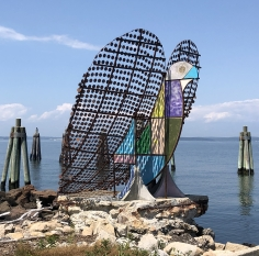 "Antone Könst, ""Love Dove"", 2020, steel, copper, foam, concrete, hardware with paint, installed on Fishers Island, NY, Lighthouse Works, Public Art Commission."
