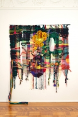 "Terri Friedman ""The island where it all works out"", 2018 Wool, cotton, jute, hemp, acrylic, metallic fibers ​85 x 75 inches"