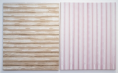 "Jarbas Lopes ""If Dionysus Drinks Wine, Apollo Drinks Coffee"", 2013 Wine and coffee on woven elastic on wooden frame Diptych, each: 60 x 48 x 1-3/4 inches"