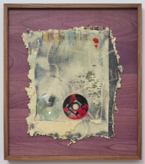 "Noel Anderson ""Quadrants"", 2013 Custom woven tapestries, polyurethane foam, acrylic, wire, CD and oil bar in Sepala & African Purple Heart wood frame 27-1/2 x 25 inches"