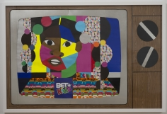"""Derrick Adams """"Pilot #1"""", 2014 Mixed media collage on paper and mounted on archival museum board 48 x 72 inches"""