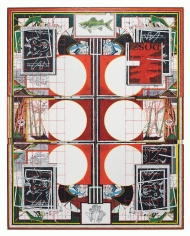 """Zachary Armstrong  """"Six Circles"""", 2018 Encaustic on canvas  96 x 76 inches"""