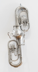 "Sudarshan Shetty ""No Title"" (from The more I die the lighter I get), 2009 Baby tubas, glass 49 x 23 x 22 inches"