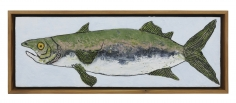 """Zachary Armstrong """"Baby Blue Fish"""", 2018 Encaustic and oil on canvas in artist frame 8 1/4 x 22 1/2 inches"""