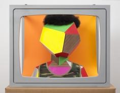"""Derrick Adams """"Boxhead #4"""", 2014 Mixed media 23 x 28 x 19 inches"""