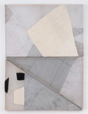 """Martha Tuttle, """"Like the way galaxies recede to the rim of space"""", 2019, wool, linen, graphite, pigment, quartz, 63 x 46 x 2 inches (160 x 117 x 5 cm)."""