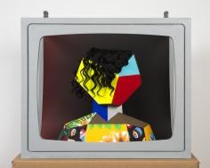 """Derrick Adams """"Boxhead #2"""", 2014 Mixed media 23 x 28 x 19 inches"""