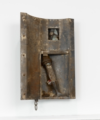 """John Outterbridge """"Window with Footnote"""", 1991  Mixed media  38-1/4 x 22 x 14-1/4 inches"""