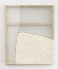 """Martha Tuttle """"Plainsong (1)"""", 2018 Wool, silk, pigment, stone 30 x 25 inches"""