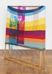 "Tomashi Jackson  ""Color Study (Mayor Doubles Down) (Same Old, Same Old)"", 2019  Acrylic fiber, digital prints on vinyl on wood  55-1/4 x 47 x 8 inches"