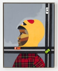"Derrick Adams ""Figure in the Urban Landscape 2"", 2017 Acrylic, graphite, ink, fabric on paper collage, grip tape, and model cars on wood panel 20-1/2 x 16-1/2 x 2-1/8 inches"