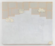 """Brenna Youngblood, """"ONLY"""", 2017, acrylic, found paper, wallpaper, cardboard on canvas, 60 x 72 inches (152 x 183 cm)."""