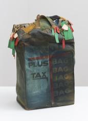 "John Outterbridge ""Plus Tax: Shopping Bag Society, Rag Man Series"", 1971  Mixed media  20 x 13-1/2 x 7-1/2 inches"