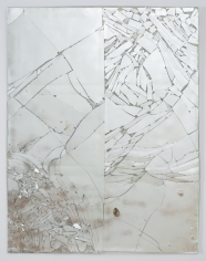 "Luca Dellaverson ""Untitled"", 2013 Epoxy resin and mirrored glass with wood support 66 x 51 inches"