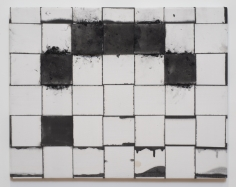 "Jarbas Lopes ""Untitled"", 2013 Charcoal and ink on woven elastic on wooden frame ​22 x 28 x 3/4 inches"