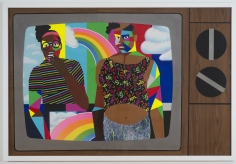 """Derrick Adams """"Fun Fabulous Friends"""", 2014 Mixed media collage on paper and mounted on archival museum board 48 x 72 inches"""
