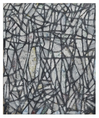 """Zachary Armstrong, """"2-1-20 White black lines"""", 2020, encaustic and oil on linen, 24 inches by 20 inches"""