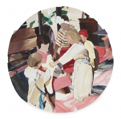 "Jaclyn Conley  ""Christmas Pageant"", 2019  Oil on panel collage  20"" Diameter"