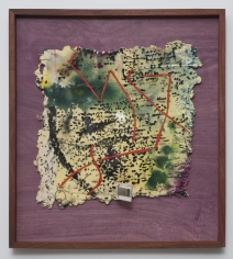 "Noel Anderson ""Quadrants"", 2013 Custom woven tapestries, polyurethane foam, acrylic wire, plastice slide and oil bar in Sepala & African Purple Heart wood frame 28 x 25-1/2 inches"