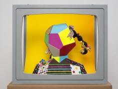 """Derrick Adams """"Boxhead #3"""", 2014 Mixed media 23 x 28 x 19 inches"""