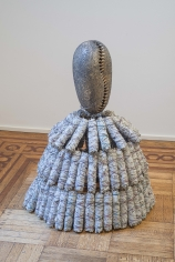 """Simone Leigh """"Cowrie (Sage)"""", 2015 Terra cotta, porcelain, sage, string, wire, steel 36 x 28 x 28 inches"""
