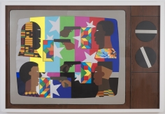 """Derrick Adams """"Show Down"""", 2014 Mixed media collage on paper and mounted on archival museum board 48 x 72 inches"""