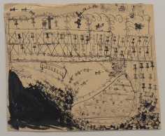 "Nicole Eisenman ""Battlefield"", 1995-2011  Black ink and stamp on paper  18-3/4 x 23 inches"